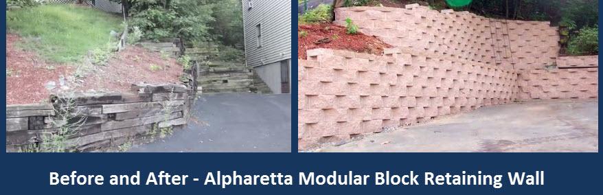 cross tie wall replaced with modular block Alpharetta