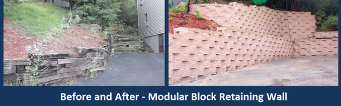 before and after Lawrenceville Ga landscape design wall