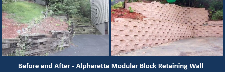 cross tie wall replaced with modular block Alpharetta